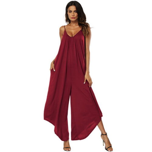 Damen Lang Hosenanzug Overall Romper Strappy Jumpsuit Schlag Hose Locke new P//D