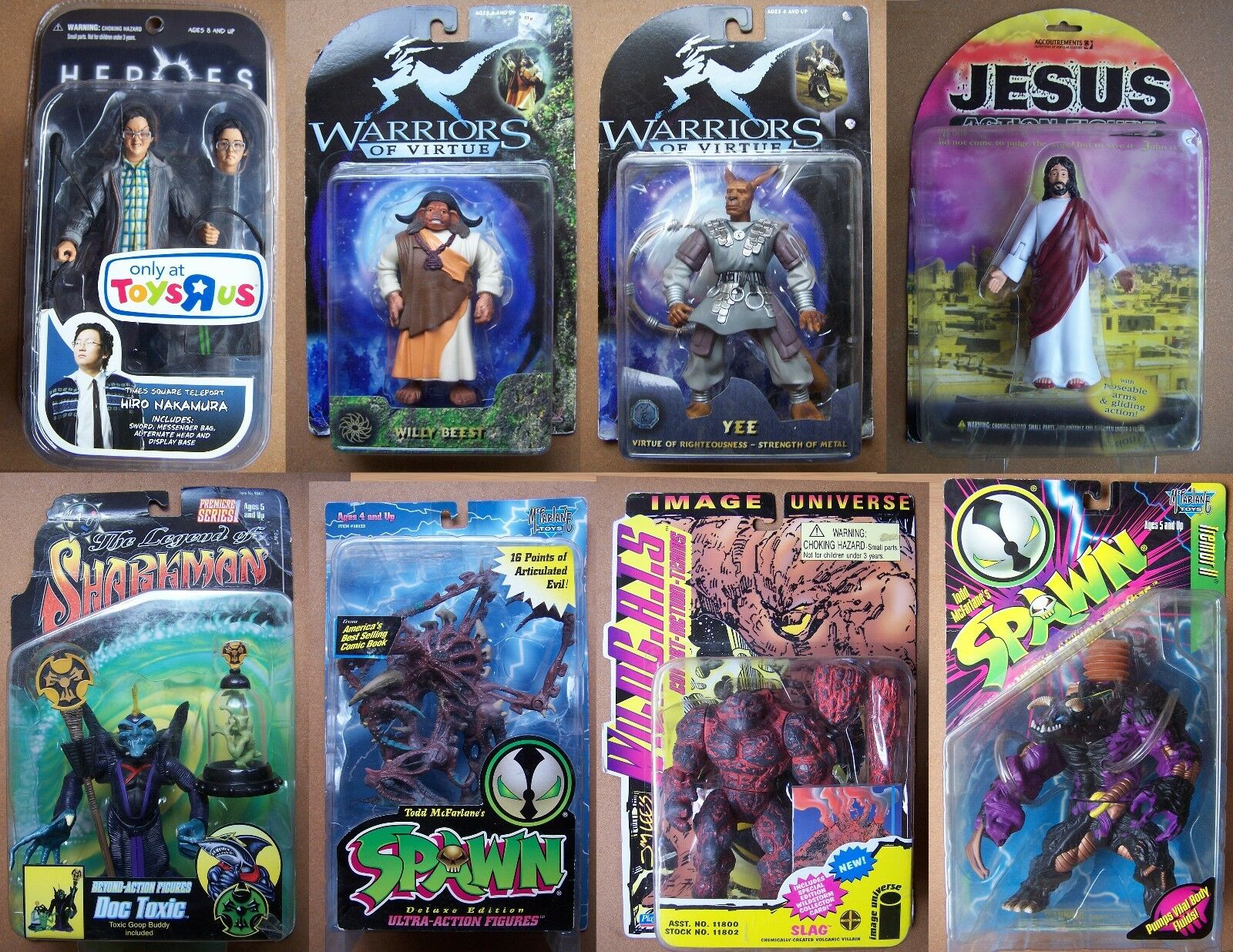 Heroes & Villains 8 Raro Difícil de encontrar Jesús Spawn púrpurator guerreros de la virtud héroes escoria de TV