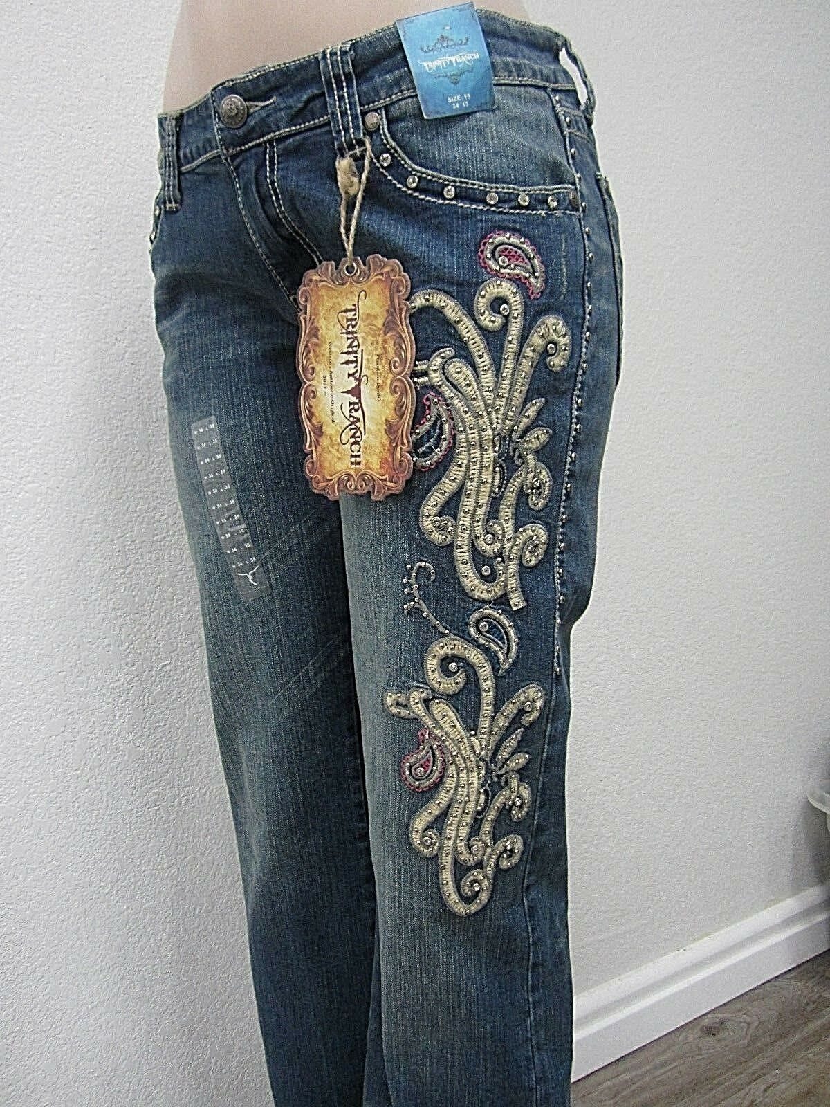 NWT Montana West Trinity Ranch Boot Cut Jeans bluee New Western Cowgirl 34 X35