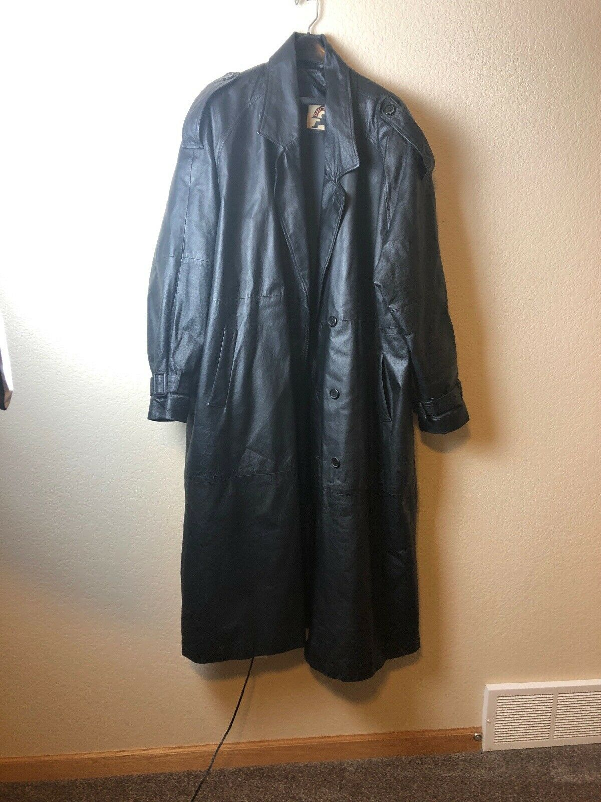 herren 3XL Bkack leder Trench Coat