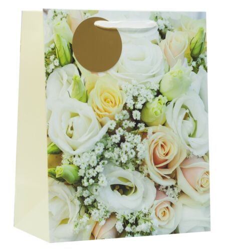 """White and Ivory Roses with Gold Tag 13/""""x10.25/"""" Large Wedding Gift Bag"""