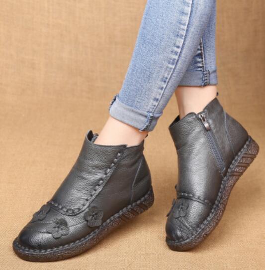 Donna Retro Leather Flowers Fashion Flats Soft Sole Ankle Boots Fashion Flowers Comfort Shoe E4 0e7ff9