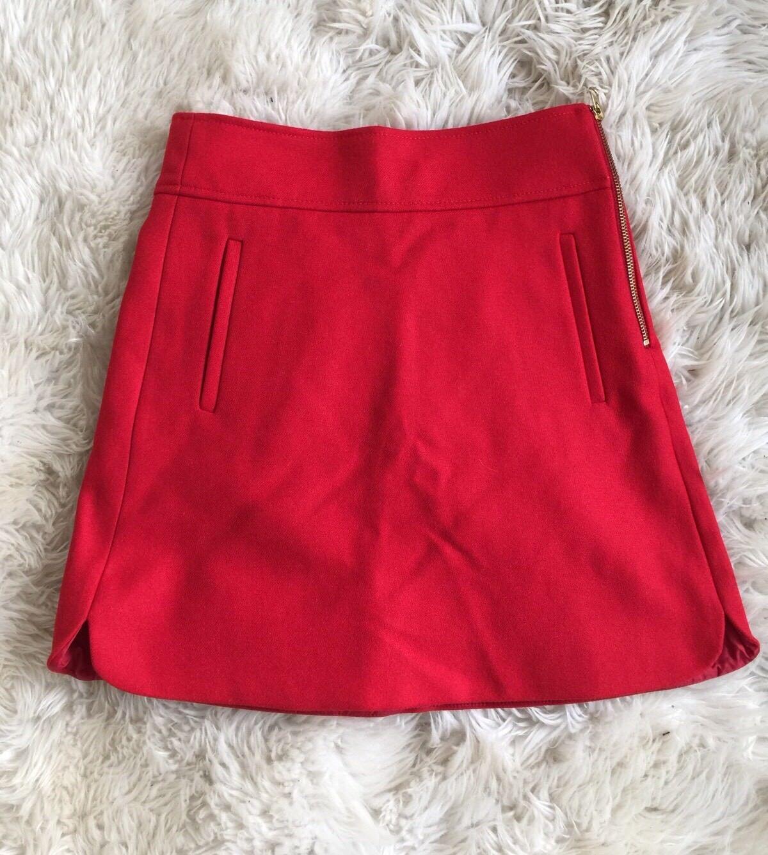 NEW JCREW Mini Skirt In Double-serge Wool F8325 00 Red