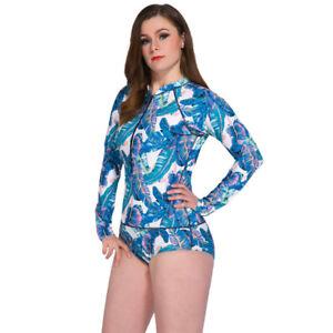 412489374ed Women Long Sleeve Swimwear Rash Guards Surfing Plus Size One Piece ...