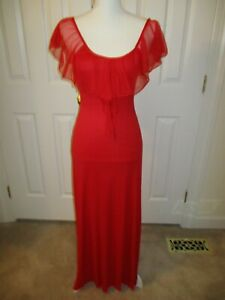 VINTAGE ROMANTIC SHEER RUFFLED NECK RED SEXY NIGHTGOWN DRAPED BACK SIZE 1