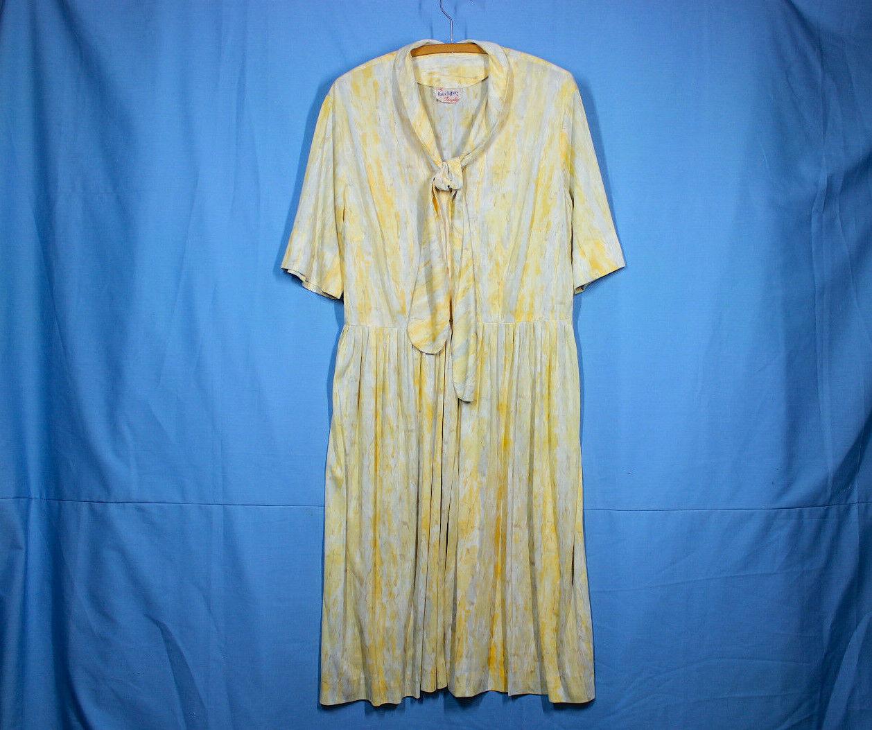 Vtg 60s Knit Dress XXL w37 Plus Shirt Rayon Pussy… - image 1