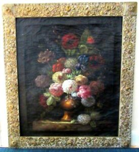 19c-FLEMISH-BAROQUE-STILL-LIFE-FLOWERS-OIL-PAINTING-DUTCH-ORIGINAL-FRAME-SIGNED