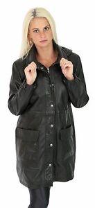 veste amovible manteau Manteau en cuir noir de décontractée capuche longue femmes 3 4 à OiXPukTZ