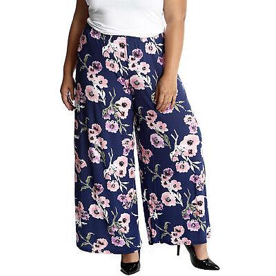 New Ladies Trouser Plus Size Womens Palazzo Floral Print Wide Leg Pants Nouvelle