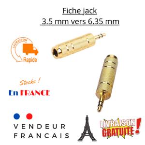 Fiche jack Adaptateur audio 3.5 mm prise mâle vers 6.35 mm femelle plaqué or