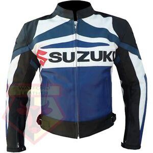 SUZUKI-GSX-BLUE-MOTORBIKE-MOTORCYCLE-BIKER-COWHIDE-LEATHER-ARMOURED-JACKET