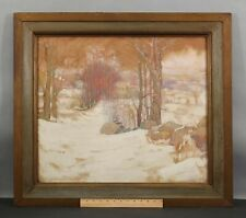 Antique HAROLD C DUNBAR Arts & Crafts American Winter Landscape Gouache Painting