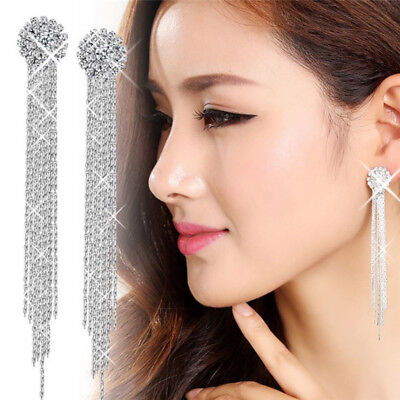 Long Drop Earrings Diamante Bridal Tassel Rhinestone Silver Dangle Crystal Party