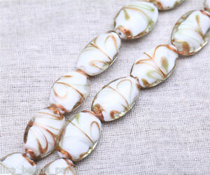 10pcs-25x18mm-Lampwork-Glass-Handmade-Oval-Finding-Loose-Spacer-Beads-White