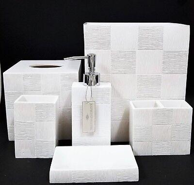 New Raymond Waites 6 Pc Set White Resin Checkered Soap Dispenser Trash Tissue 3 Ebay