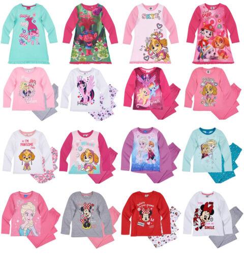 Filles Enfants Officiel Sous Licence Disney divers personnage à Manches Longues Pyjamas Pjs 18