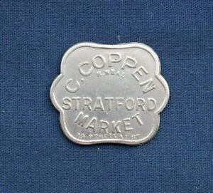 Vintage C Coppen, Stratford Market 2/6d Metal Token C1940s Era