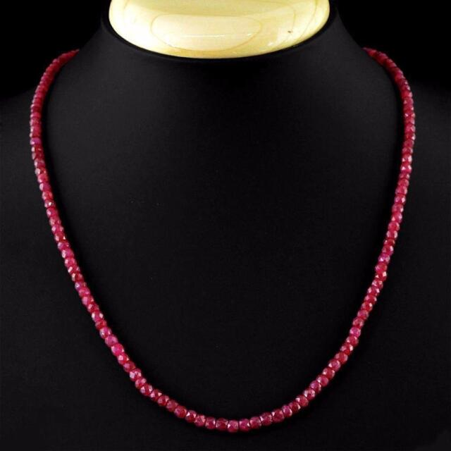 AAA+ 2x4mm Natural Brazil Red Ruby Gemstone Faceted Beads Necklace 18''