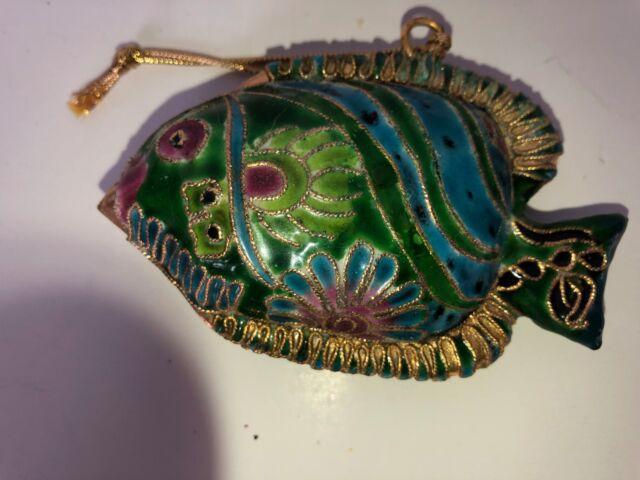 Vintage Turquoise Fish Christmas Tree Ornament