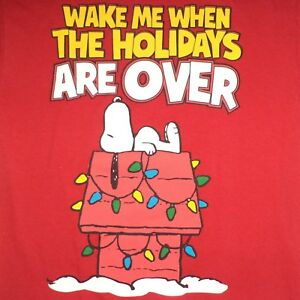 Ugly Christmas T Shirt S Snoopy Peanuts Wake Me When The Holidays Are Over Ebay