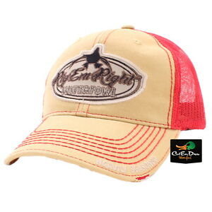 afd6a086ee9 RIG EM RIGHT WATERFOWL RED AND KHAKI TRUCKER MESH HAT CAP LOGO ...