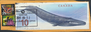 Blue-Whale-Canada-3211-Jumbo-10-Wildlife-Commem-Cancelled-on-piece-Issued2010