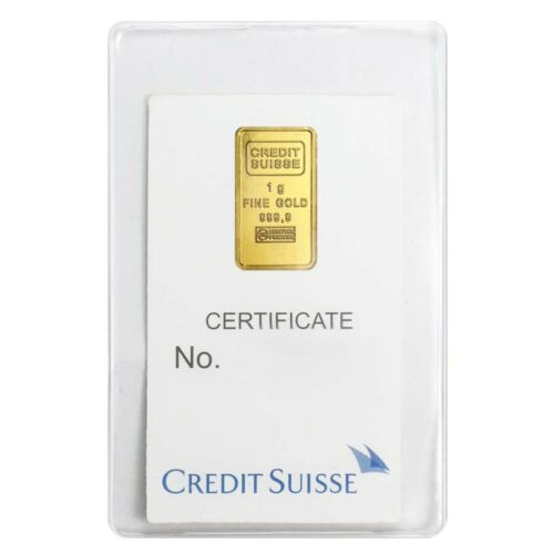 1 gram Credit Suisse Statue of Liberty Gold Bar .9999 Fine In Assay