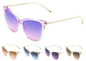 Wholesale 12 Pair Cat Eye Metal Frame  Sunglasses w// Flat Oceanic Color Lens