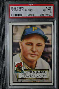 1952 Topps - Clyde McCullough - #218 - Red Back - PSA 6 - EX-MT