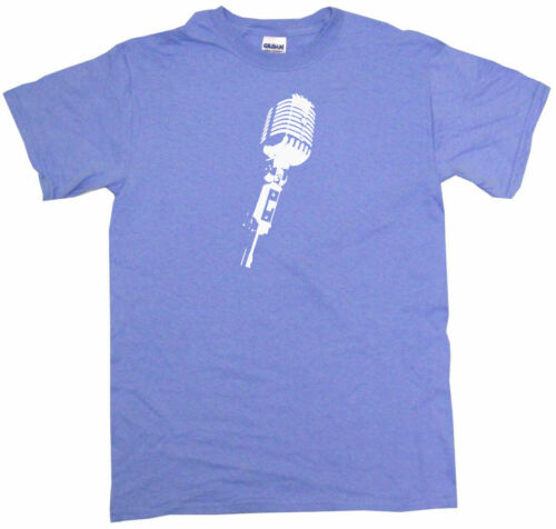 Stage Microphone Silhouette Mens Tee Shirt Pick Size Color Small-6XL