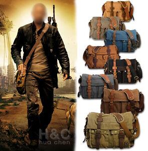 Men-039-s-Military-Canvas-Leather-Satchel-School-14-034-Laptop-Shoulder-Messenger-Bag