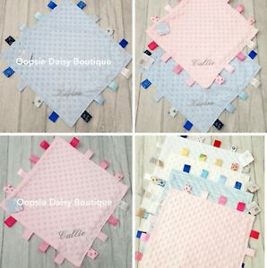 Personalised taggy blanket comfort blanket new baby gift personalised taggie