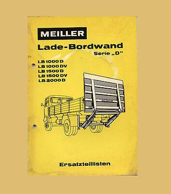 """Bordwand Serie """"d"""" Ersatzteilliste Original 1971 Meiler Lade Baugewerbe"""