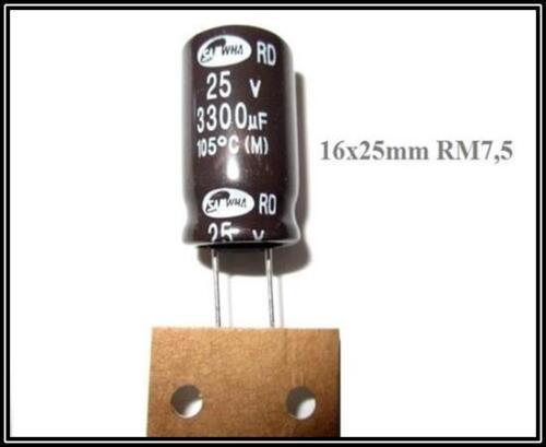 Elko Kondensator Elektrolyt 3300µF 25V 16x25 ra7,5 105° 2 Stück