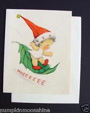 Unused 1946 Eva Harta Xmas Greeting Card Angel Sliding Down the Leaf. Ars Sacra
