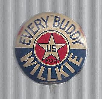 1940 WENDELL WILLKIE BURTON OHIO COATTAIL CAMPAIGN BUTTON BRICKER