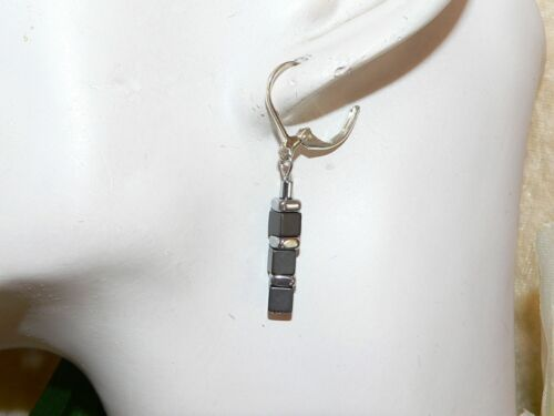 Ohrringe Hämatit Perlen Würfel grau anthrazit matt Spacer glanz silber 052h