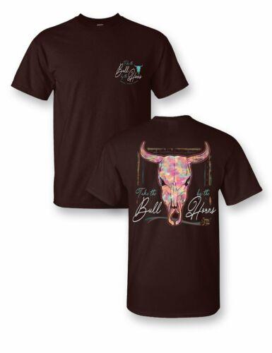 Sassy Frass Take the Bull by the Horns Watercolor Steer Girlie Bright T Shirt