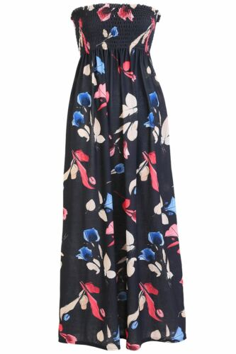 Plus Size Women Ruched Sheering Strapless Bandeau Ladies Floral Rose Maxi Dress