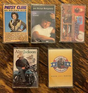 Country Cassette Lot (5) (Patsy Cline, Hank Jr., Alan Jackson)