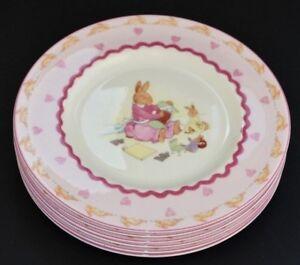 Royal-Doulton-Bunnykins-Sweet-Hearts-Set-Of-Six-20cm-Side-Plates-Brand-New