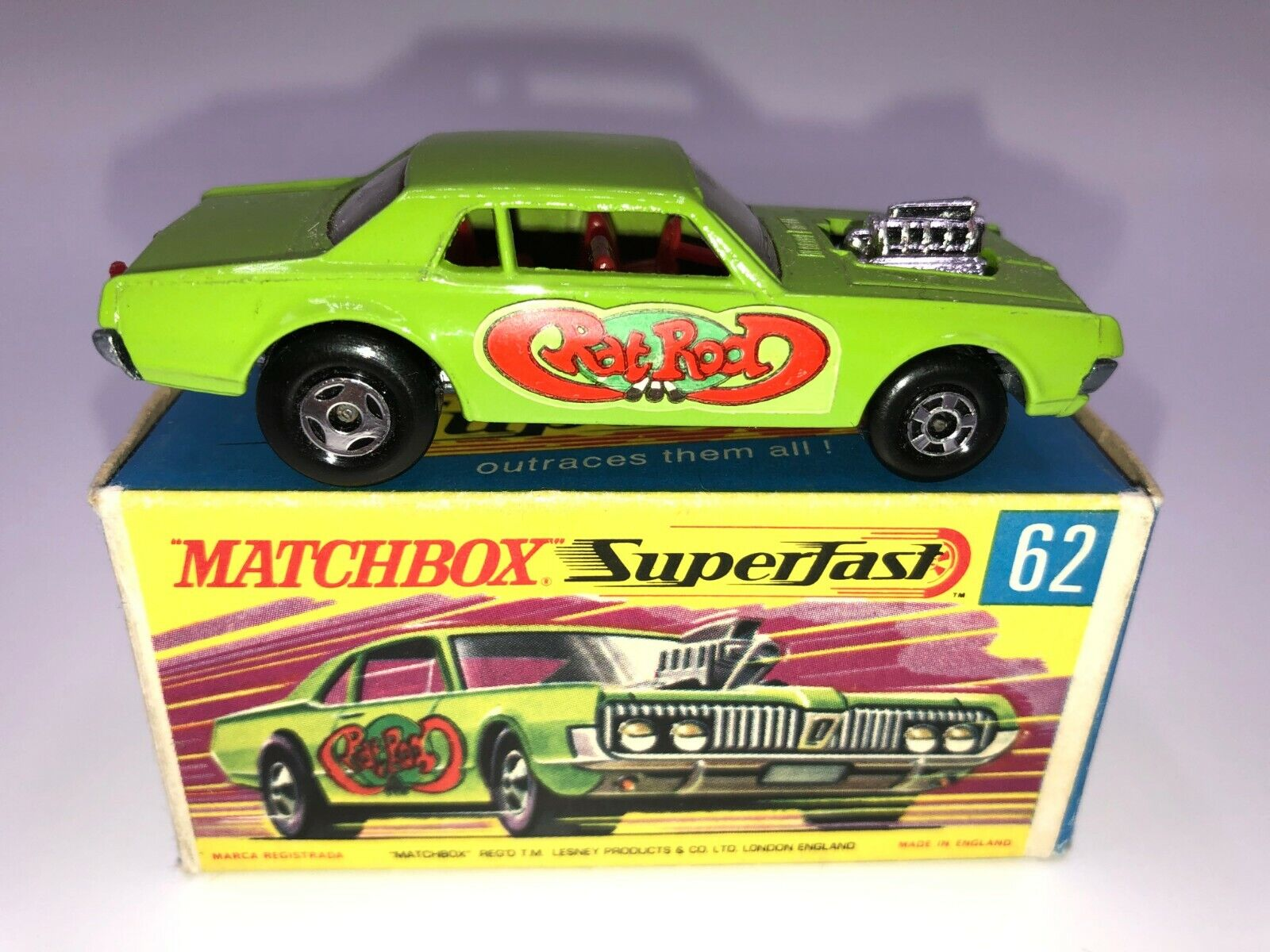 Matchbox Superfast Rat Rod Dragster  62 Mercury Cougar Minty In G Box