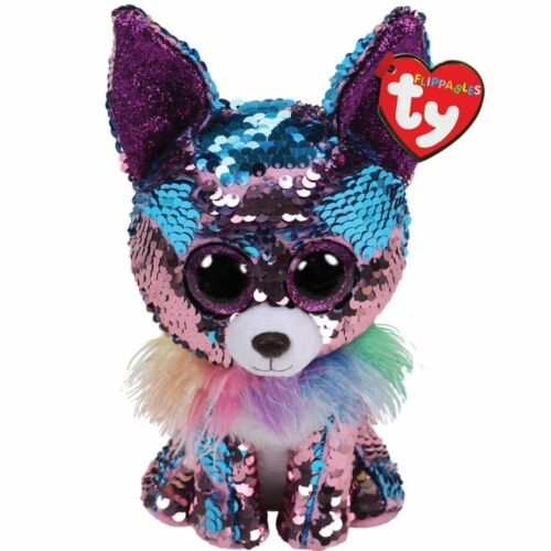"""Red Heart Tag TY Beanie Boos Yappy the Chihuahua 10/"""" MED w// Reversible Sequins"""