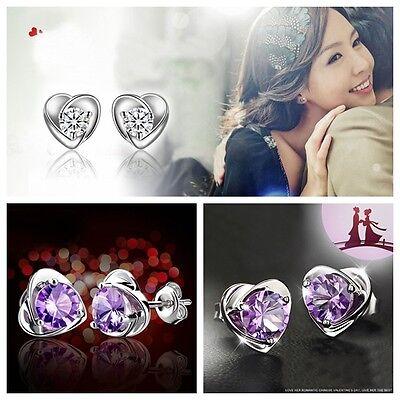 Fashion 1 Pair Women Lady Elegant 925 Silver plated Ear Stud Earrings Heart