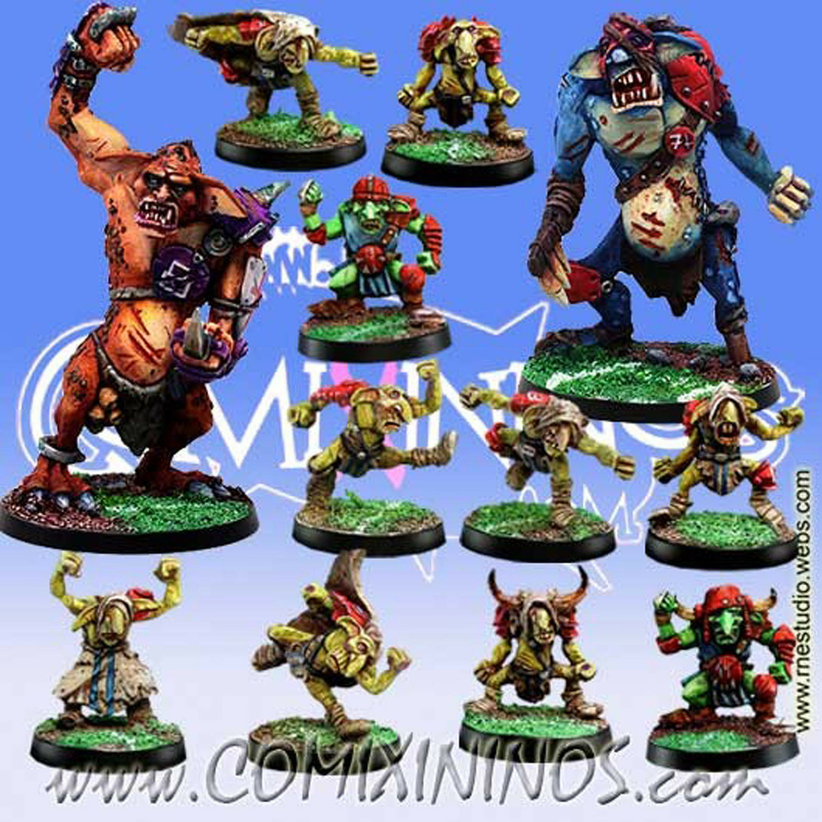 Fantasy Football - GOBLIN TEAM 12 with Two TROLLS Players for Blood Bowl - Meiko