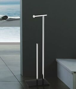 NEW  STAINLESS STEEL MULTI LOO TOILET ROLL HOLDER AND STORER STAND SILVER