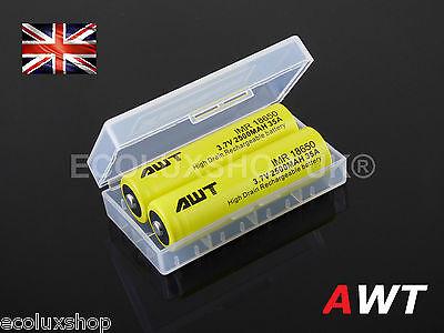 2x Genuine AWT 18650 IMR 2500mAh 3.7v Li-Mn 35A Button Top Batteries + Case UK