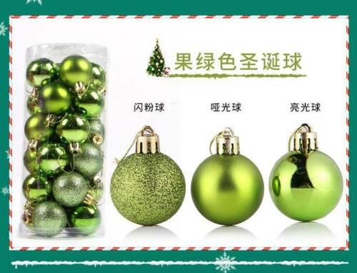 24pcs Glitter Christmas Baubles Xmas Tree Ornament Hanging Ball Diy Decor 3-6cm