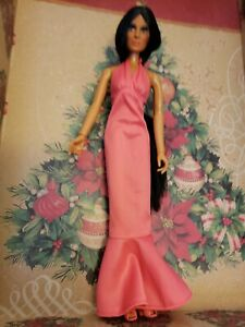 Vintage CHER Poseable Doll, Pink Halter Dress, Pink Shoes, Mego 1976 EXCELLENT