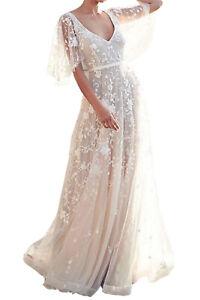 Women-Boho-V-Neck-Ruffle-Sleeve-Lace-Floral-Wedding-Dress-Size-8-20